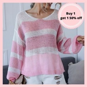 Pink and White Striped Knit Sweater